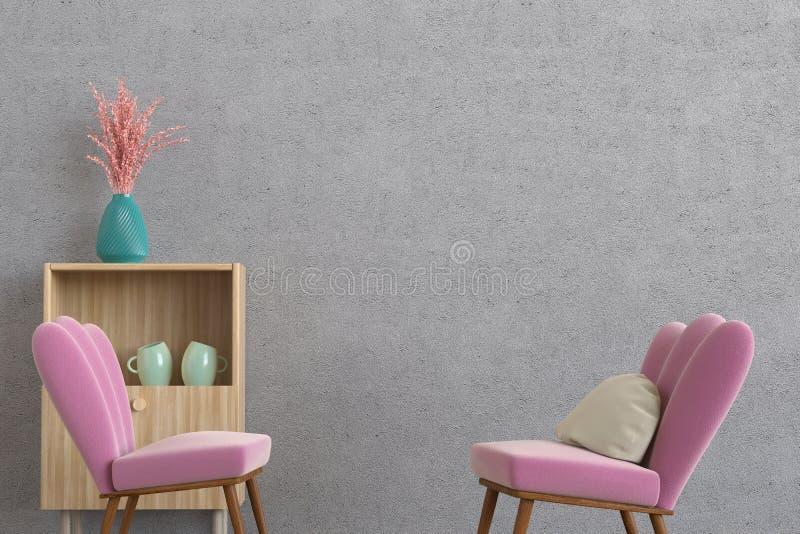 Minimalistic bighellona la rappresentazione della sala 3d immagine stock