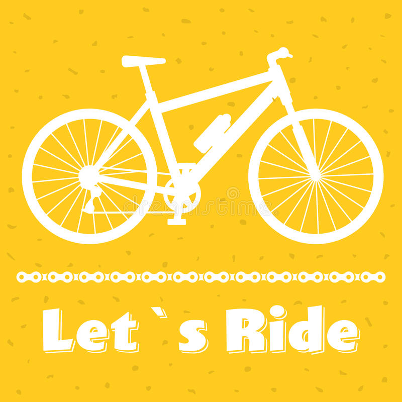 Minimalistic bike poster Let s Ride. Black mountain bicycle with a chain. Vector illustration. Minimalistic bike poster Let s Ride. Mountain bicycle with a chain royalty free illustration