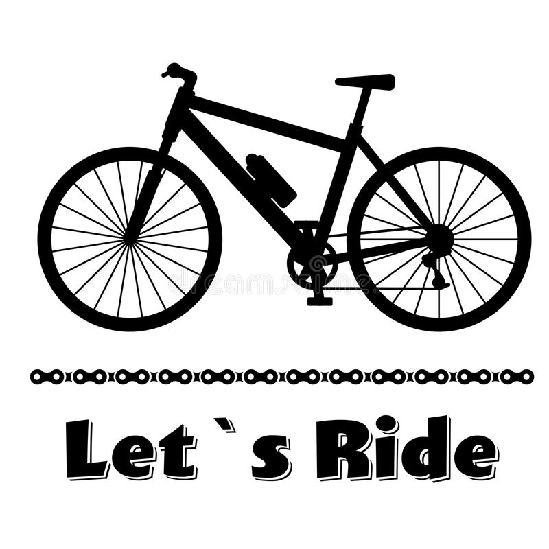 Minimalistic bike poster Let s Ride. Black mountain bicycle with a chain. Vector illustration on white background stock illustration