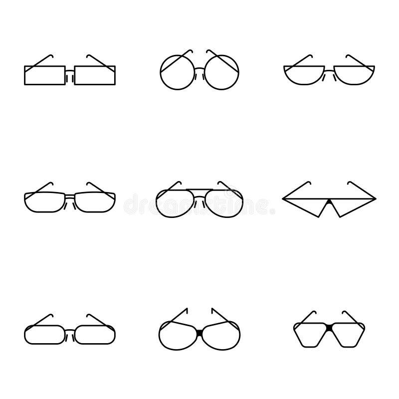 Minimalistic bild för vektor av symboler av exponeringsglas av olika former och stilar Plan stil royaltyfri illustrationer