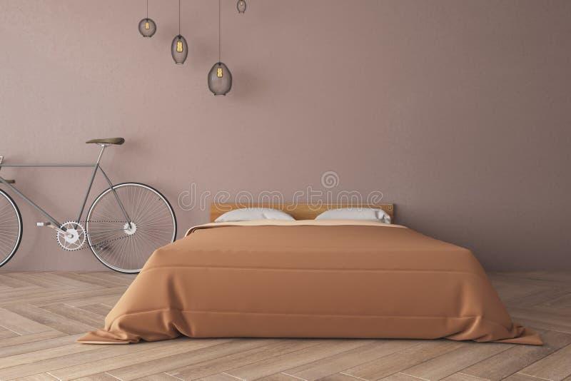 Minimalistic blauwe slaapkamer vector illustratie
