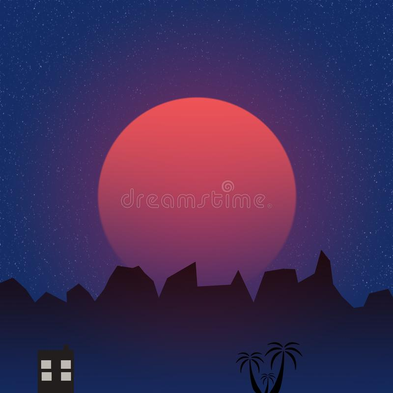 Minimalistic blue sunset over palm trees. Vector art royalty free illustration