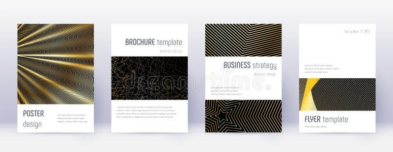 Minimalistic brochure design template set. Gold ab. Stract lines on black background. Artistic brochure design. Wonderful catalog, poster, book template etc stock illustration