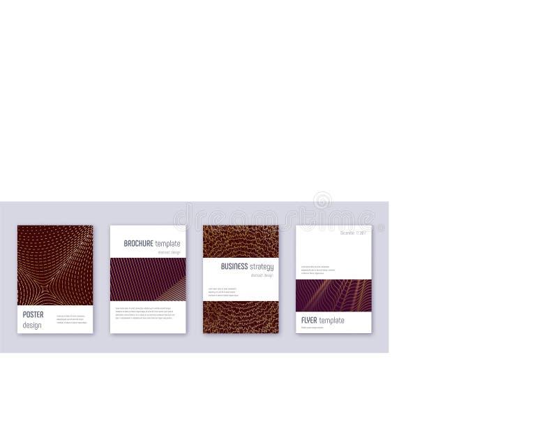 Minimalistic brochure design template set. Gold ab. Stract lines on bordo background. Astonishing brochure design. Alluring catalog, poster, book template etc royalty free illustration
