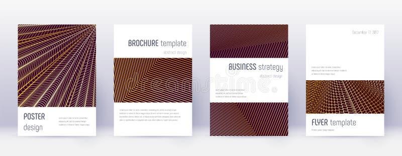 Minimalistic brochure design template set. Gold ab. Stract lines on bordo background. Astonishing brochure design. Extraordinary catalog, poster, book template vector illustration