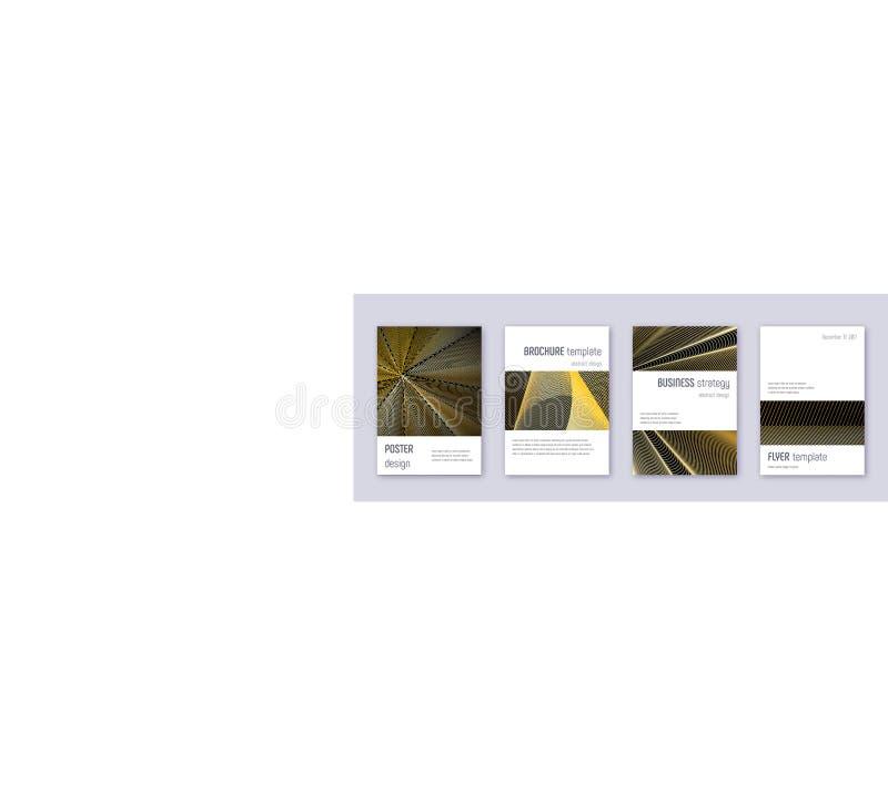 Minimalistic brochure design template set. Gold ab. Stract lines on black background. Artistic brochure design. Superb catalog, poster, book template etc royalty free illustration