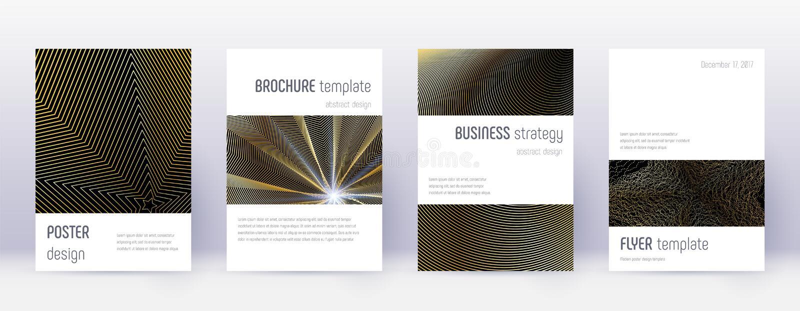 Minimalistic brochure design template set. Gold ab. Stract lines on black background. Artistic brochure design. Surprising catalog, poster, book template etc stock illustration