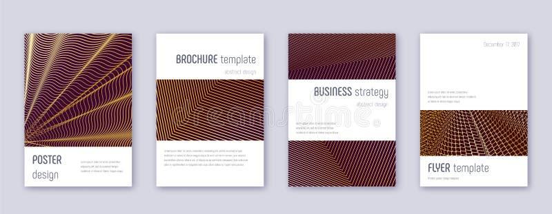 Minimalistic brochure design template set. Gold ab. Stract lines on bordo background. Astonishing brochure design. Amusing catalog, poster, book template etc vector illustration