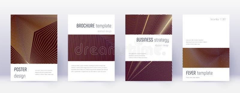 Minimalistic brochure design template set. Gold ab. Stract lines on bordo background. Astonishing brochure design. Dramatic catalog, poster, book template etc vector illustration