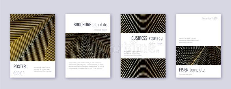 Minimalistic brochure design template set. Gold ab. Stract lines on black background. Artistic brochure design. Shapely catalog, poster, book template etc stock illustration