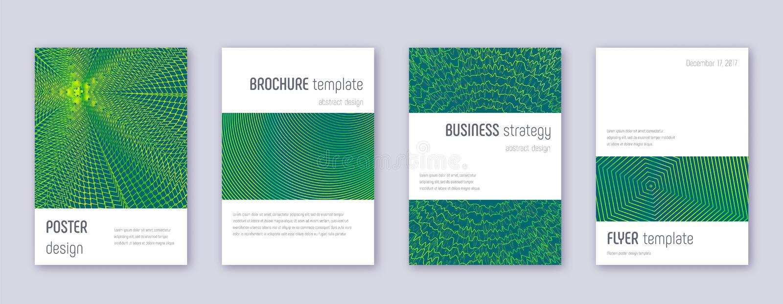 Minimalistic brochure design template set. Green a. Bstract lines on dark background. Astonishing brochure design. Lively catalog, poster, book template etc stock illustration