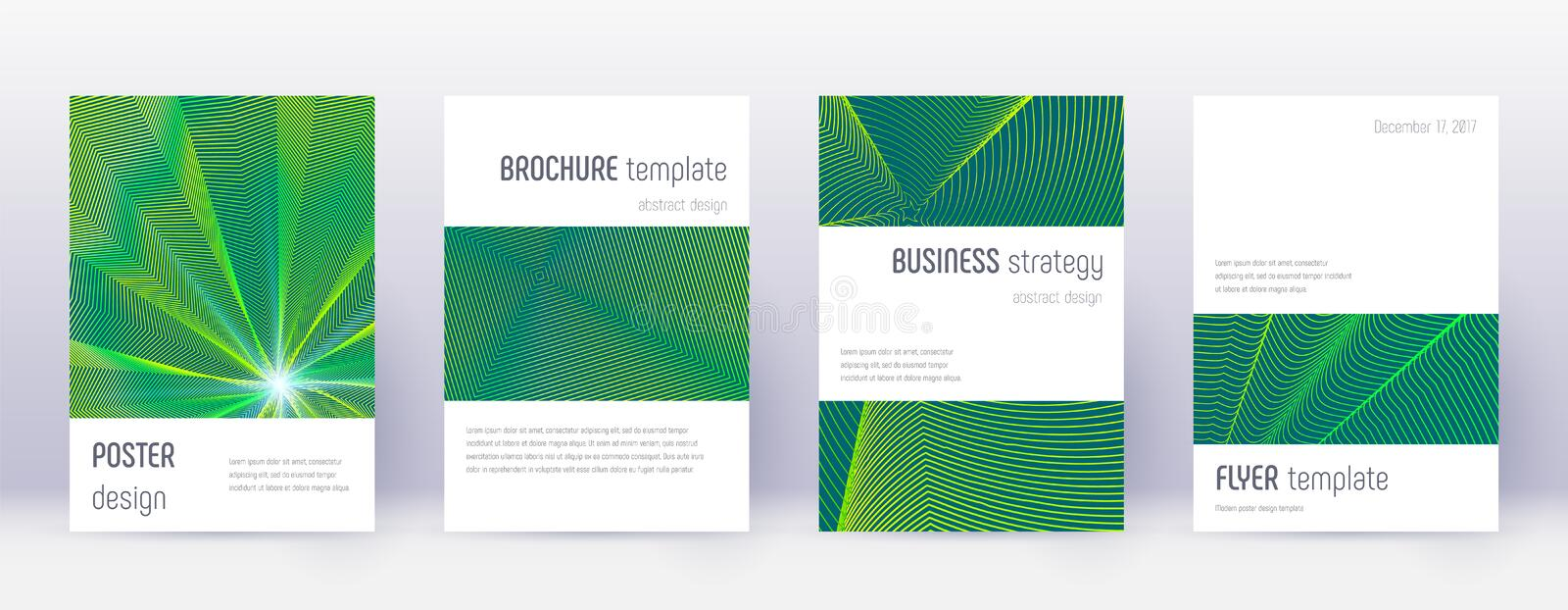 Minimalistic brochure design template set. Green a. Bstract lines on dark background. Astonishing brochure design. Overwhelming catalog, poster, book template stock illustration