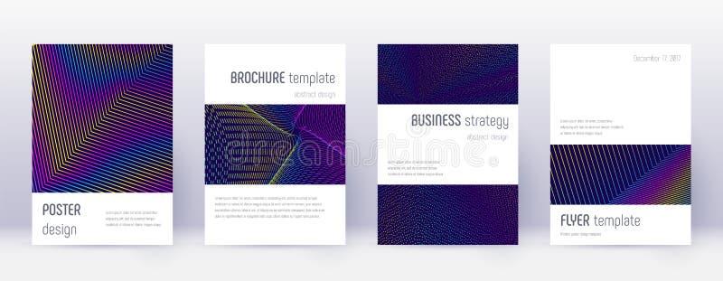 Minimalistic brochure design template set. Rainbow abstract lines on dark blue background. Attractive brochure design. Quaint catalog, poster, book template stock illustration