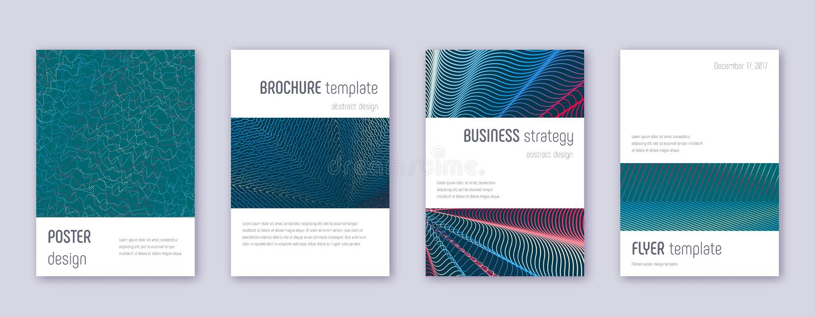 Minimalistic brochure design template set. Red abstract lines on white blue background. Authentic brochure design. Extraordinary catalog, poster, book template vector illustration
