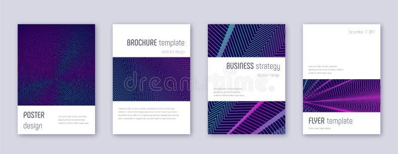 Minimalistic brochure design template set. Neon ab. Stract lines on dark blue background. Astonishing brochure design. Terrific catalog, poster, book template vector illustration