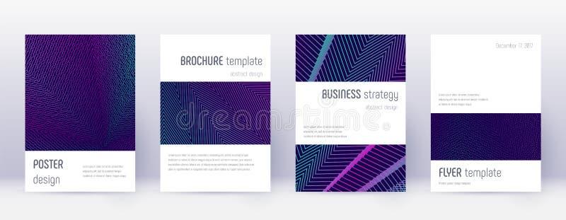Minimalistic brochure design template set. Neon ab. Stract lines on dark blue background. Attractive brochure design. Astonishing catalog, poster, book template stock illustration