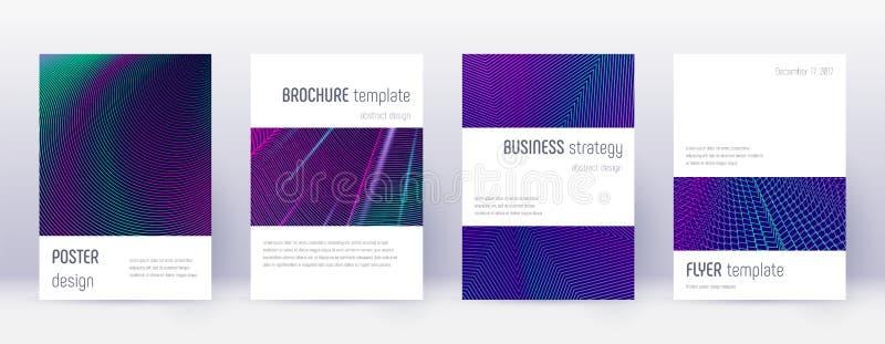 Minimalistic brochure design template set. Neon ab. Stract lines on dark blue background. Attractive brochure design. Amazing catalog, poster, book template etc stock illustration