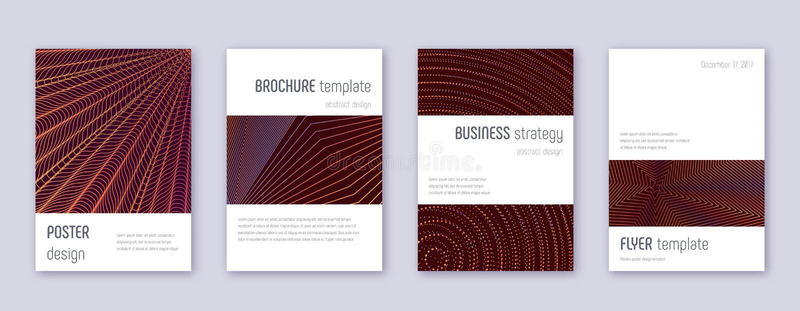 Minimalistic brochure design template set. Orange. Abstract lines on wine-red background. Attractive brochure design. Fine catalog, poster, book template etc stock illustration