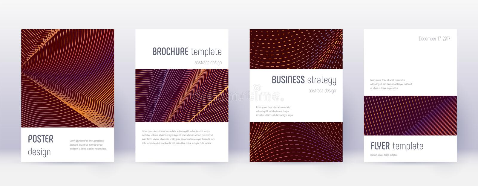 Minimalistic brochure design template set. Orange. Abstract lines on wine red background. Attractive brochure design. Cute catalog, poster, book template etc stock illustration