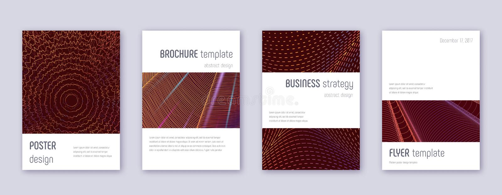 Minimalistic brochure design template set. Orange. Abstract lines on wine-red background. Attractive brochure design. Good-looking catalog, poster, book stock illustration