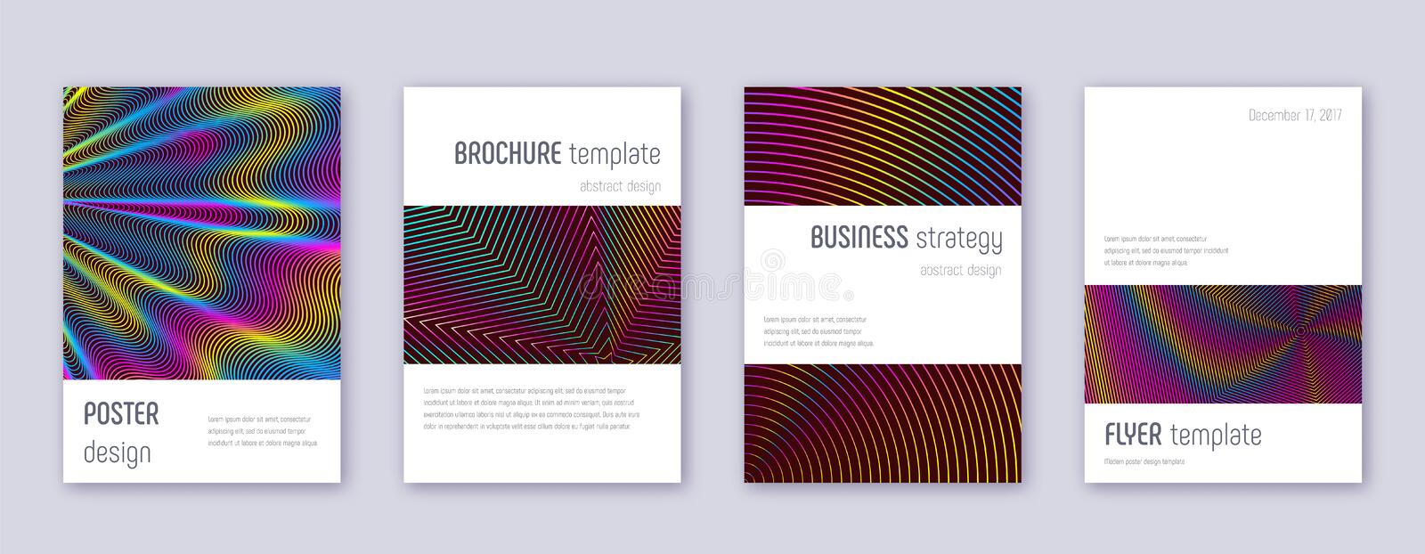 Minimalistic brochure design template set. Rainbow. Abstract lines on wine red background. Authentic brochure design. Amazing catalog, poster, book template etc vector illustration