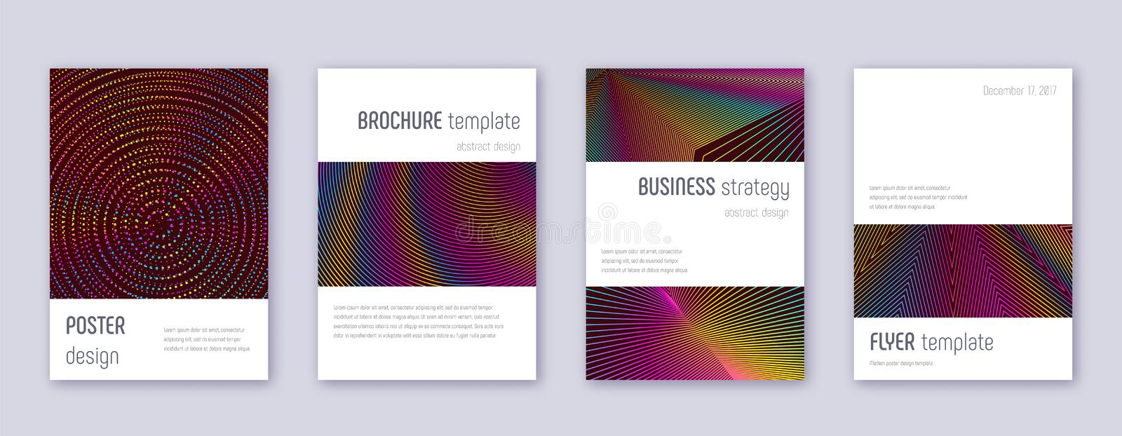 Minimalistic brochure design template set. Rainbow. Abstract lines on wine red background. Authentic brochure design. Astonishing catalog, poster, book template stock illustration