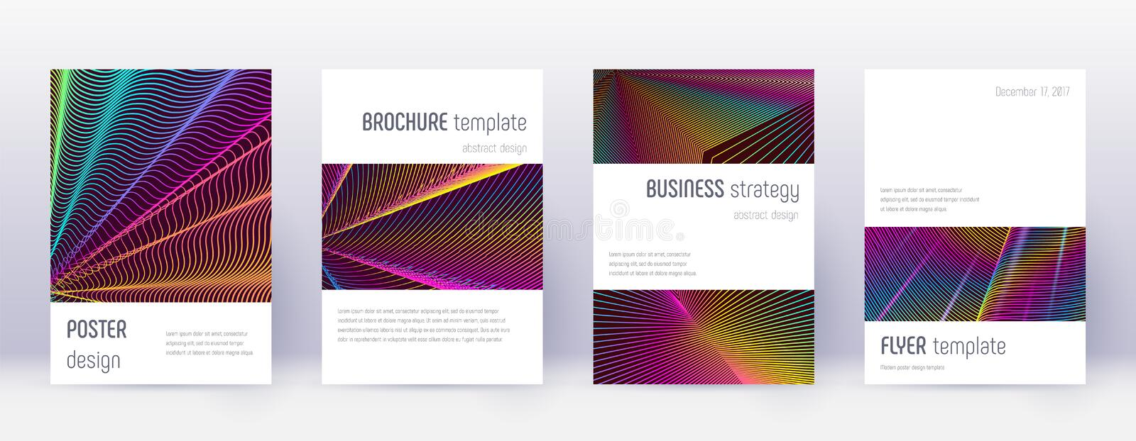 Minimalistic brochure design template set. Rainbow. Abstract lines on wine red background. Authentic brochure design. Breathtaking catalog, poster, book royalty free illustration
