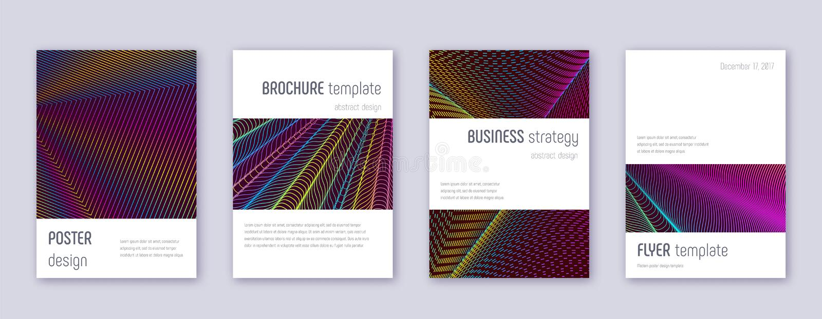 Minimalistic brochure design template set. Rainbow. Abstract lines on wine red background. Authentic brochure design. Appealing catalog, poster, book template stock illustration