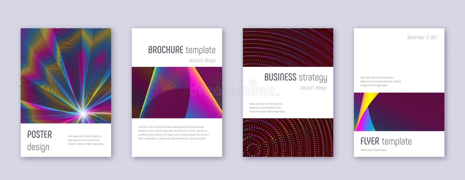 Minimalistic brochure design template set. Rainbow. Abstract lines on wine red background. Authentic brochure design. Beautiful catalog, poster, book template stock illustration
