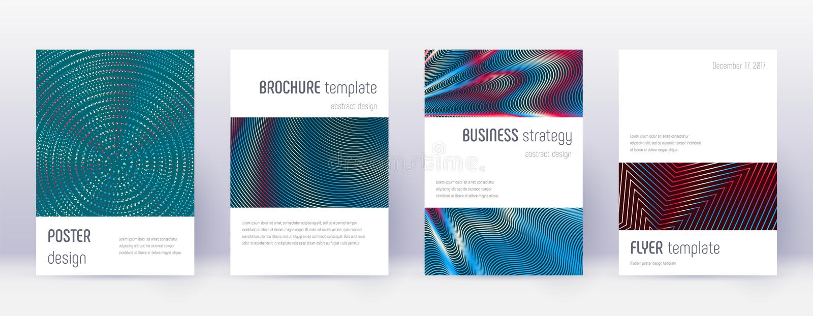 Minimalistic brochure design template set. Red abs. Tract lines on white blue background. Authentic brochure design. Magnetic catalog, poster, book template etc royalty free illustration