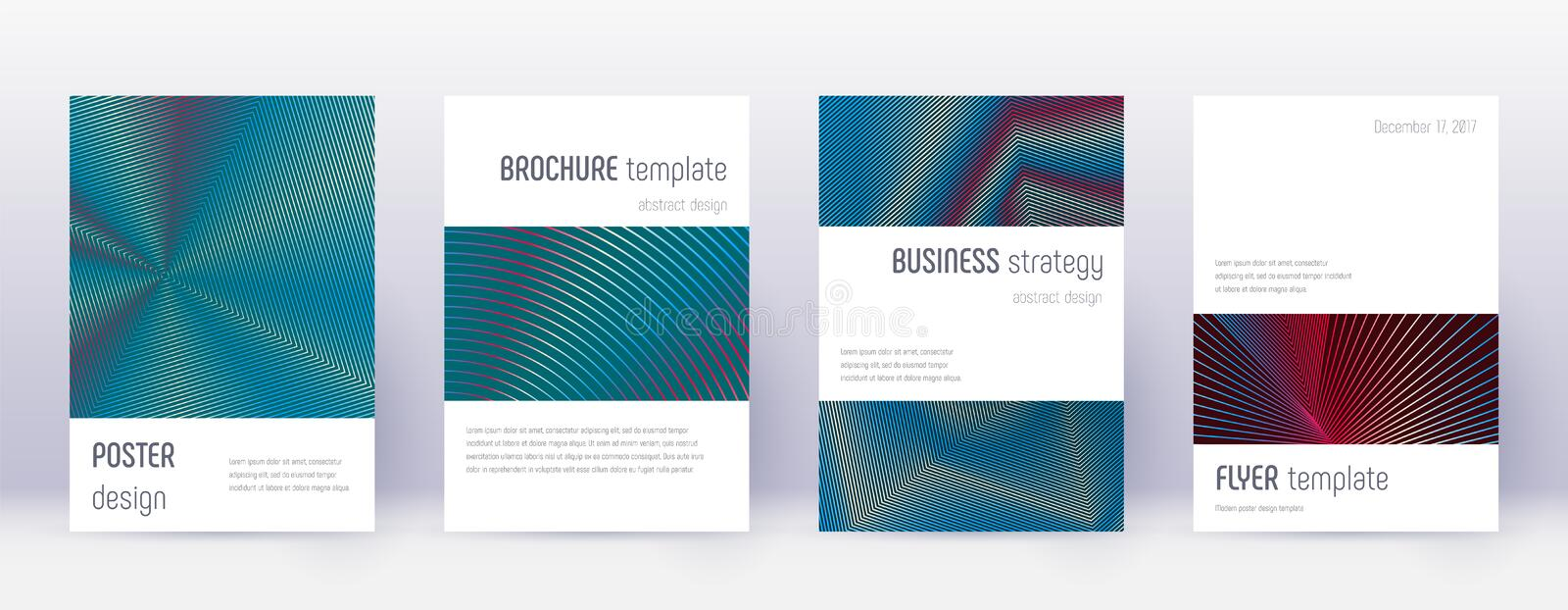 Minimalistic brochure design template set. Red abs. Tract lines on white blue background. Authentic brochure design. Overwhelming catalog, poster, book template vector illustration