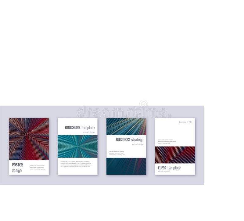 Minimalistic brochure design template set. Red abs. Tract lines on white blue background. Authentic brochure design. Fantastic catalog, poster, book template etc stock illustration