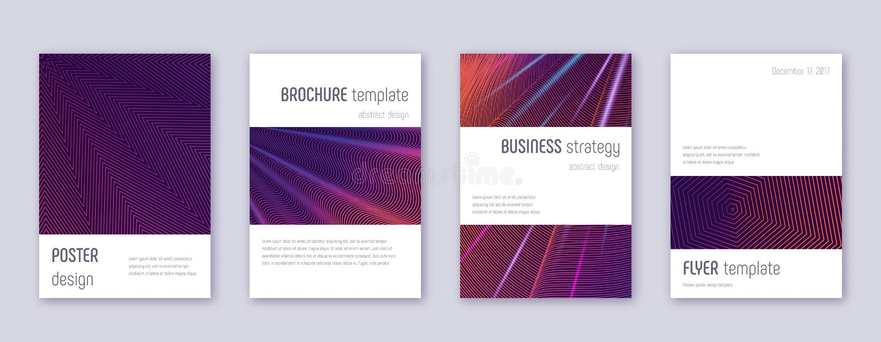 Minimalistic brochure design template set. Violet. Abstract lines on dark background. Authentic brochure design. Symmetrical catalog, poster, book template etc vector illustration