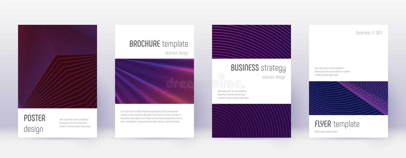 Minimalistic brochure design template set. Violet. Abstract lines on dark background. Authentic brochure design. Worthy catalog, poster, book template etc stock illustration