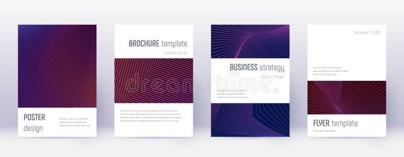 Minimalistic brochure design template set. Violet. Abstract lines on dark background. Authentic brochure design. Terrific catalog, poster, book template etc stock illustration
