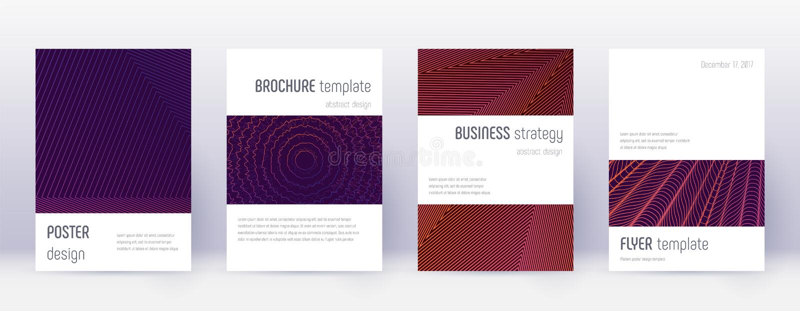 Minimalistic brochure design template set. Violet. Abstract lines on dark background. Awesome brochure design. Appealing catalog, poster, book template etc vector illustration