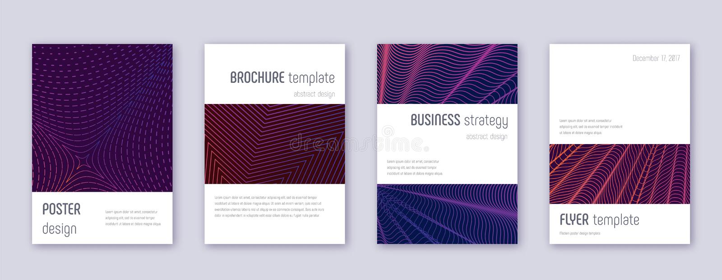 Minimalistic brochure design template set. Violet. Abstract lines on dark background. Authentic brochure design. Remarkable catalog, poster, book template etc stock illustration