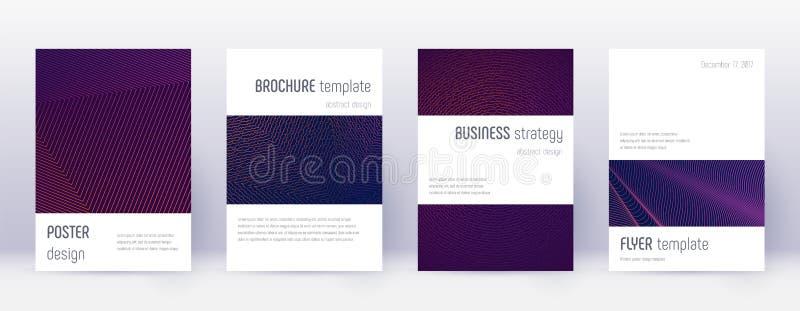 Minimalistic brochure design template set. Violet. Abstract lines on dark background. Authentic brochure design. Wonderful catalog, poster, book template etc royalty free illustration