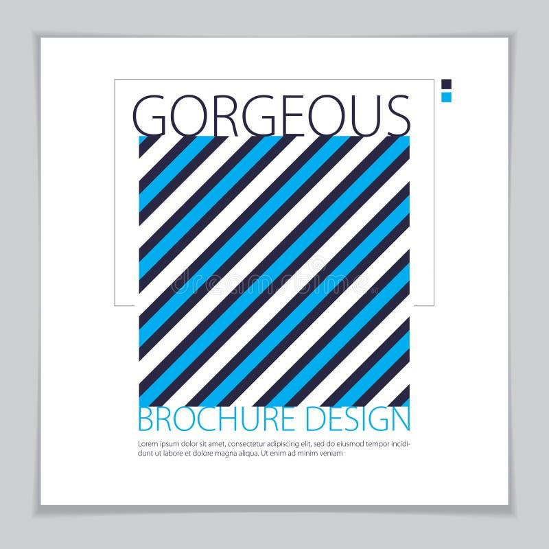 Minimalistic brochure design. Web, commerce or events vector graphic design template. Striped line textured geometric illustration stock illustration