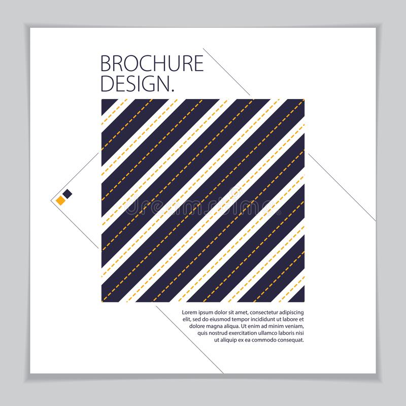 Minimalistic brochure design. Web, commerce or events vector graphic design template. Striped line textured geometric illustration royalty free illustration