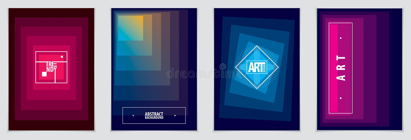 Minimalistic brochure designs. Vector geometric abstract backgrounds set. Design templates for flyers, booklets, greeting stock illustration