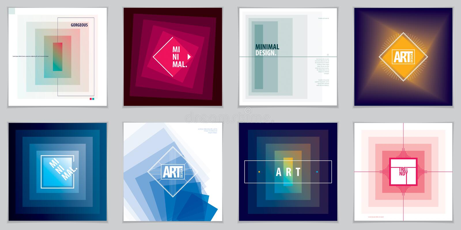 Minimalistic brochure designs. Web, commerce or events vector graphic design templates set. royalty free illustration