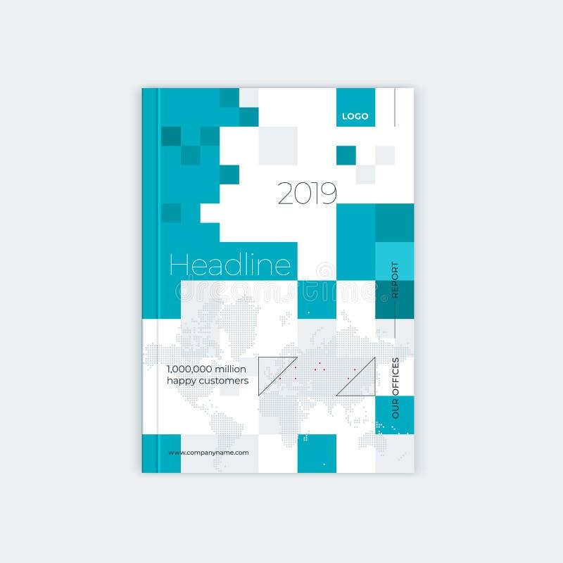 Minimalistic-Broschüren-Schablonenentwurf Flieger, Broschüre, JahresberichtAbdeckung Schablone Moderne abstrakte Quadratweltkarte stock abbildung