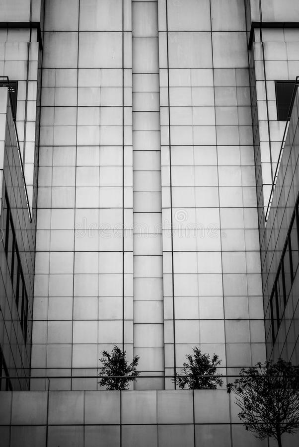 Minimalistic building. Black and white photo of a minimalistic 60's style building royalty free stock photography