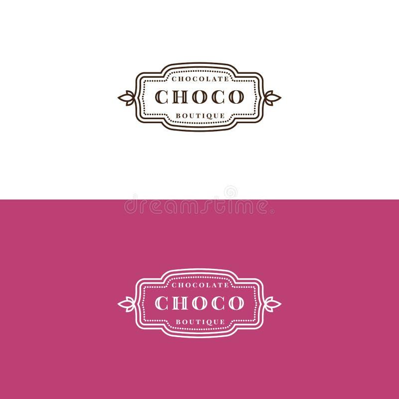 Minimalistic choklad shoppar etikettdesign vektor illustrationer