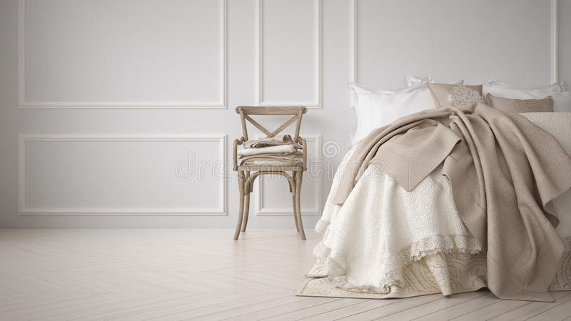 Minimalistic classic bedroom, white interior stock image