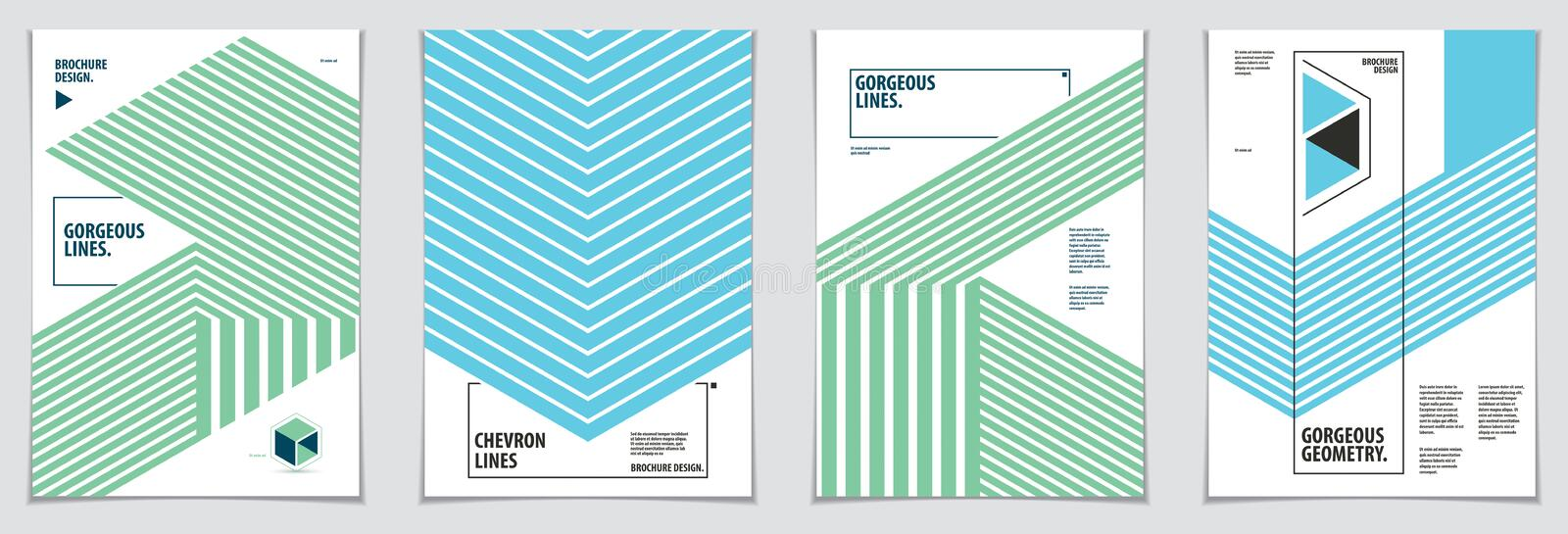 Minimalistic cover brochure designs. Vector geometric patterns abstract backgrounds set. Layouts for Covers, Placards, Posters, royalty free illustration