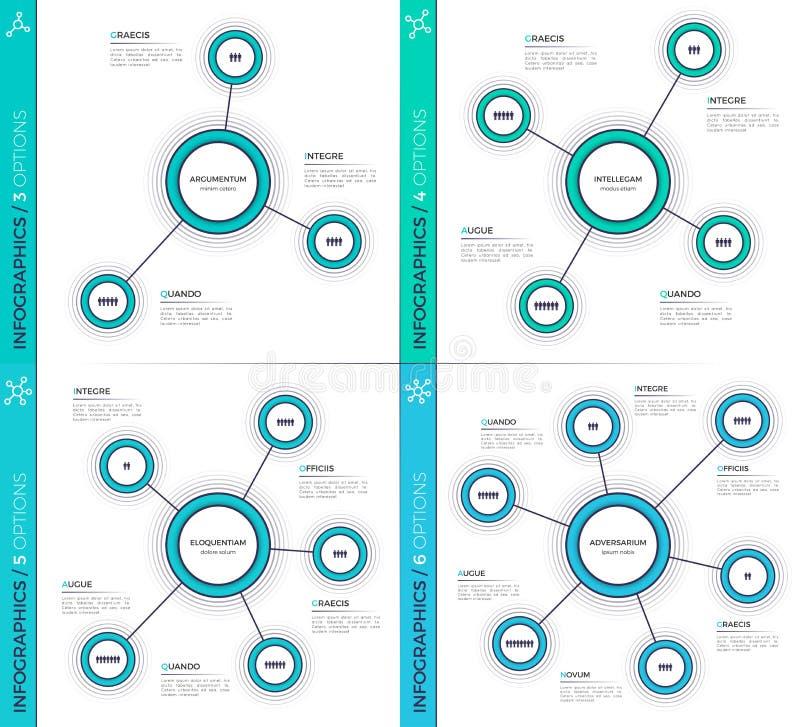 Minimalistic creative 3-6 infographic charts, schemes, designs. vector illustration