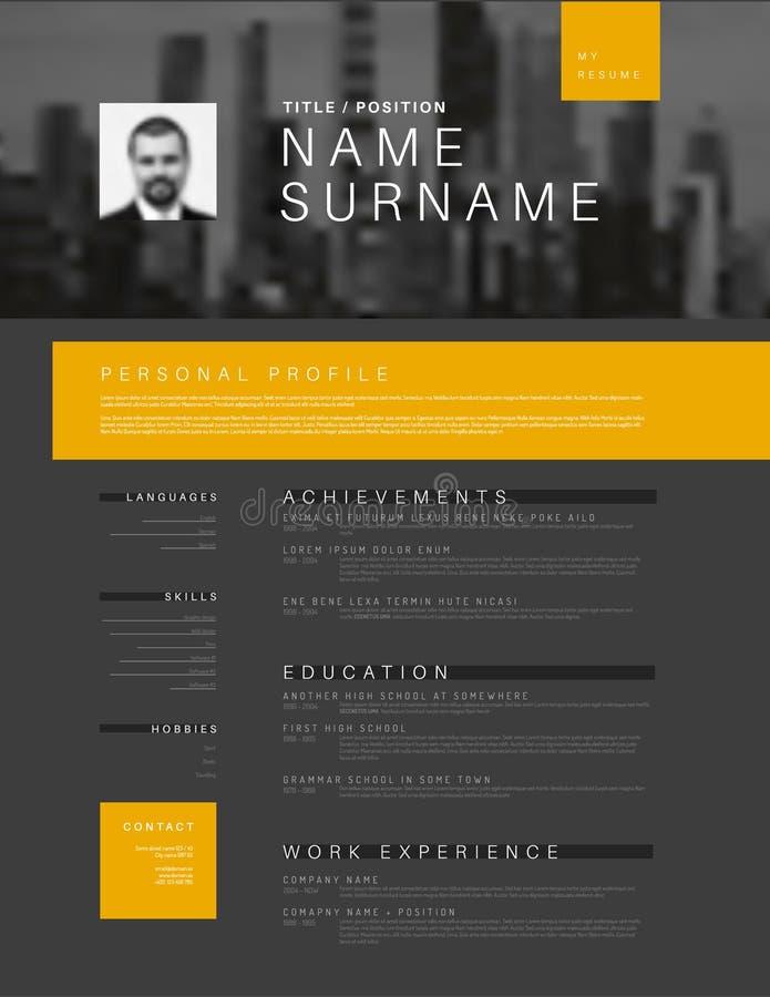 yellow black cv resume template - curriculum vitae sample stock vector