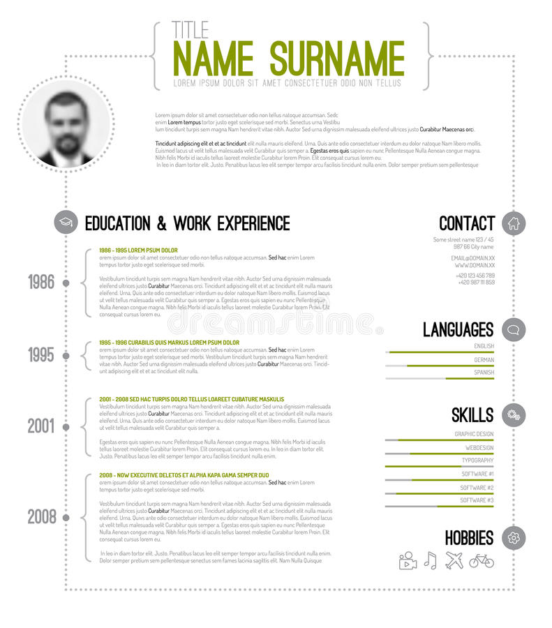 Minimalistic Cv Resume Template Stock Vector Illustration Of - Resume timeline template